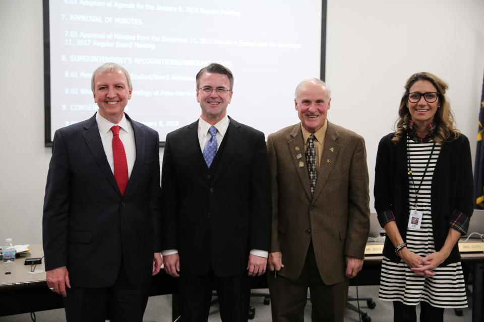 Supt. Dr. Jerry Thacker, Chris Riley, Larry Beehler and Angie Gates