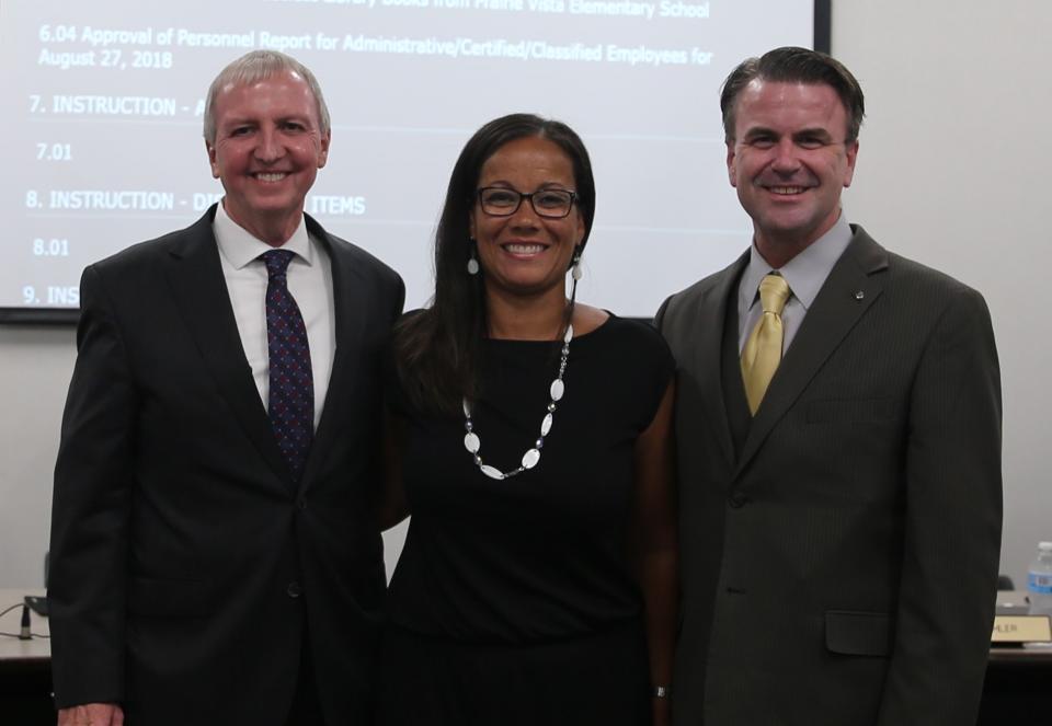 Supt. Dr. Jerry Thacker, Lucha Ramey & Board Pres. Chris Riley