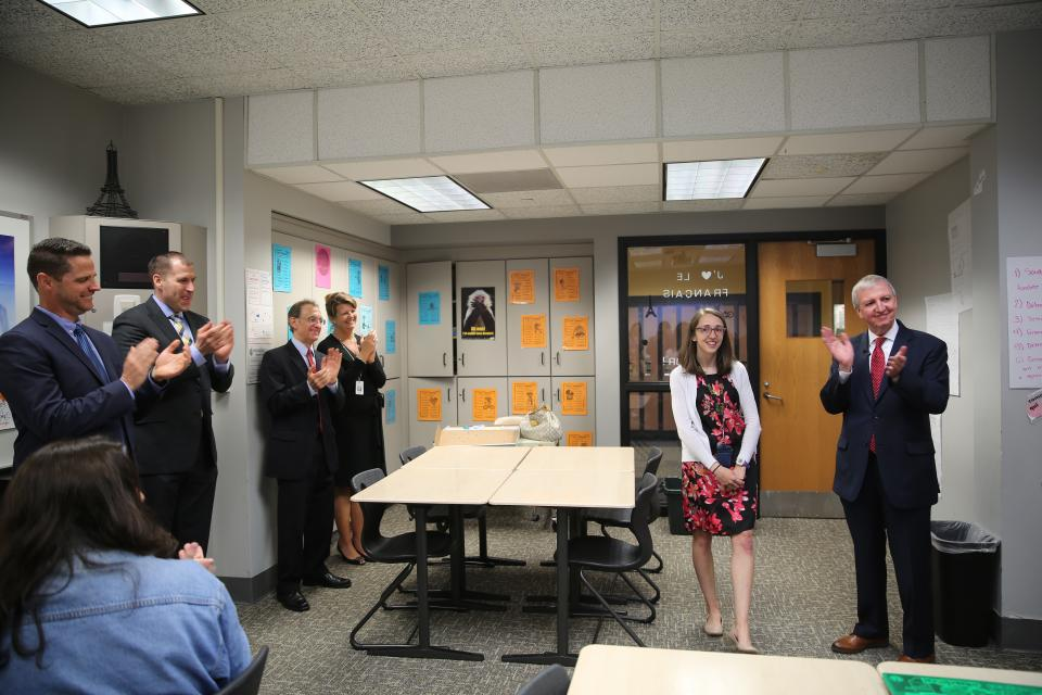 PHM Supt. Dr. Thacker surprised Mrs. Mitchell last spring as PHM's Secondary Teacher of the Year (April 2019)