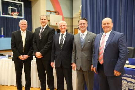 Jeff Hart, Aaron Lenski, Supt. Dr. Jerry Thacker, Board Pres. Chris Riley, and Jerry Hawkins