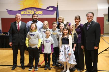 Supt. Dr. Jerry Thacker & Board Pres. Chris Riley with Horizon students & teachers