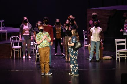 """Penn's musical, """"The Theory of Relativity,"""" was performed in front of a limited audience, live streamed, and student actors wore masks (March 5, 2021)"""
