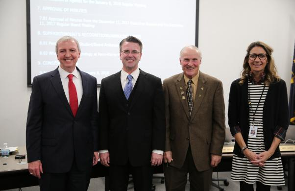 Supt. Dr. Thacker with new Board President Chris Riley, Vice President Larry Beehler & Secretary Angie Gates