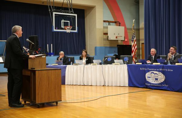 Penn Athletic Director Jeff Hart addresses the P-H-M School Board