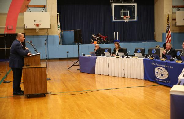 Executive Director of Business Services Jerry Hawkins addresses the P-H-M School Board