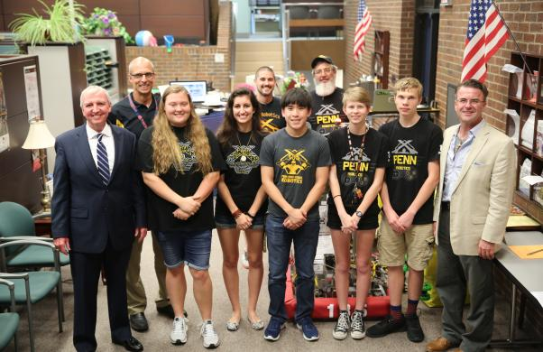 Penn Robotics Team 135 at the P-H-M Board of School Trustees meeting (6.19.18)