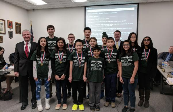 Discovery's State Championship Spell Bowl Team was recognized at the Feb. 26, 2018 P-H-M School Board Meeting, along with teacher team sponsor Tanner Givens