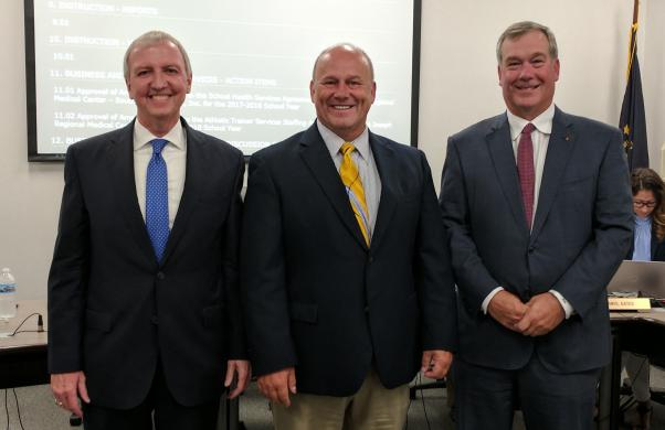 Supt. Dr. Jerry Thacker with new P-H-M Business Manager Jerry Hawkins and Board Pres. Gary Fox (7/24/17)