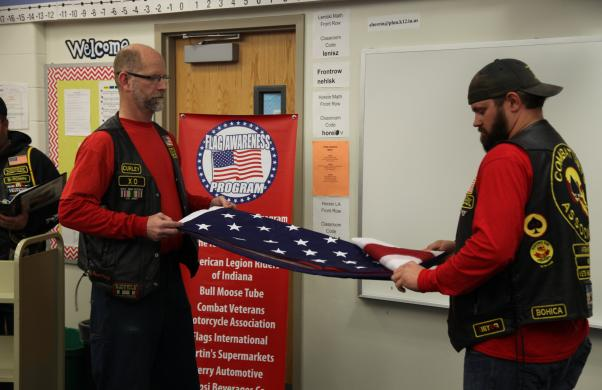 Veterans show Bittersweet fifth graders proper way to fold the American flag