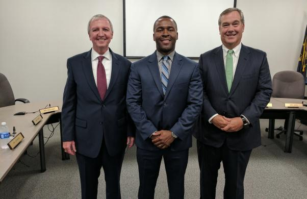 Grissom's new principal, Mr. Jean Milfort (center), with Supt. Dr. Jerry Thacker (left) and Board President Gary Fox (right)