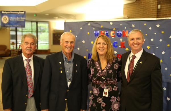 Board Members Jim Garret, Larry Beehler, Northpoint Principal Diane Wirth and Supt. Dr. Thacker during 1st Day of School Visits (8/24/17)