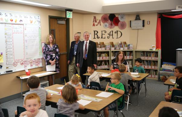 Supt. Dr. Thacker visits Northpoint classrooms with Board Member Larry Beehler (8/24/17)